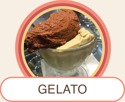 Glass cup filled with fresh and natural artisanal chocolate and vanilla gelato scoops